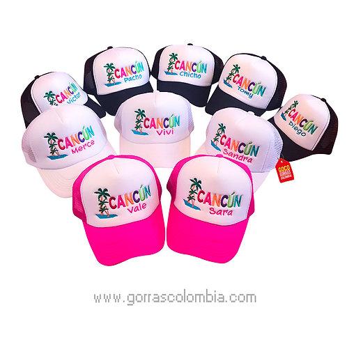 gorras negras,blancas y fucsia para fiesta cancun