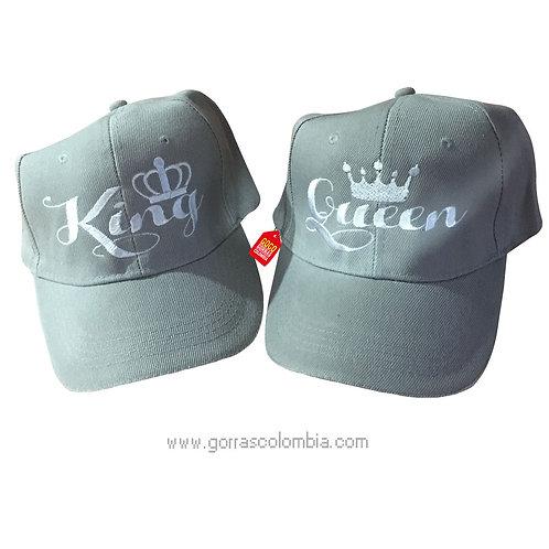 gorras grises unicolor para pareja king y queen