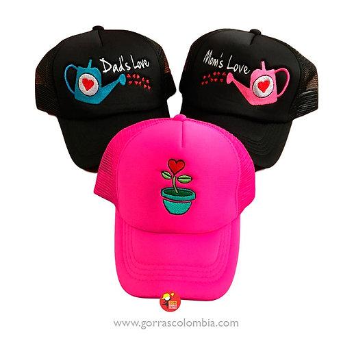 gorras negras y fucsia unicolor para familia regaderas planta amor