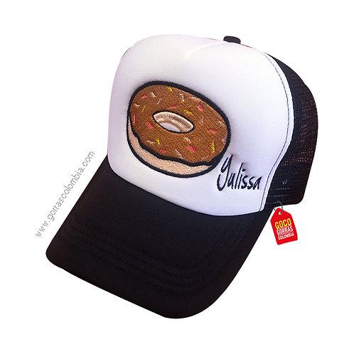 gorra negra frente blanco personalizada emoji dona