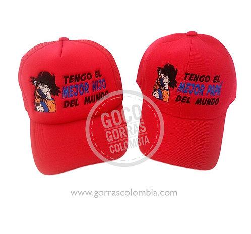 gorras rojas unicolor para familia papa e hijo goku