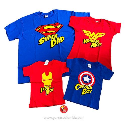 camisetas azules y rojas para familia super heroes