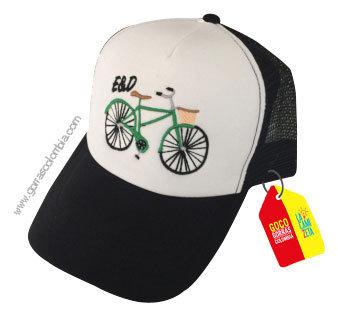 gorra negra frente blanco personalizada bici