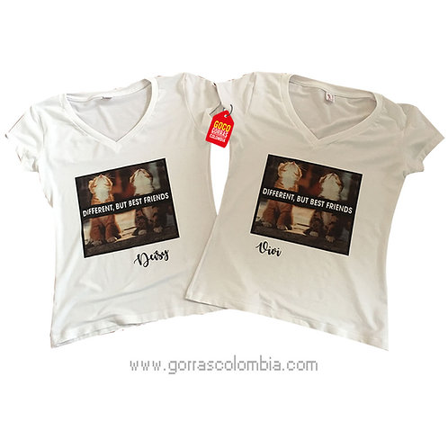 camisetas blancas para amigas best friends