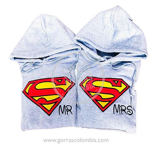 busos grises para pareja superman mr y mrs