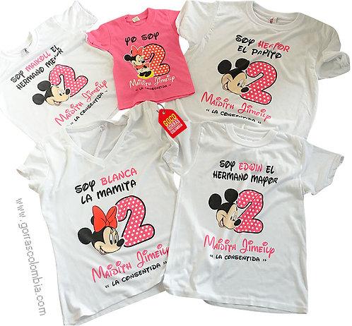 camisetas blancas y fucsia para familia de mickey