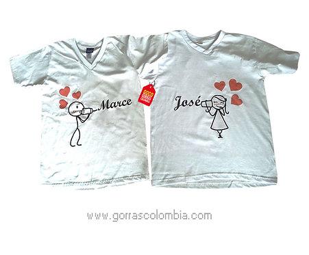 camisetas blancas para pareja de palitos con vaso