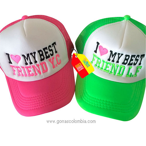 gorras fucsia y verde frente blanco para amigas best friend