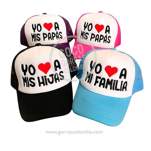 gorras varias frente blanco para familia yo amo a mi familia
