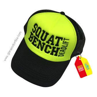 gorra negra frente verde personalizada squat bench dead lift