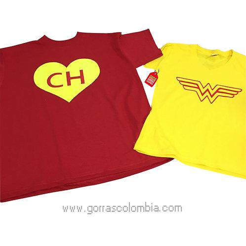 camisetas roja y amarillas para pareja de chapulin y mujer maravilla