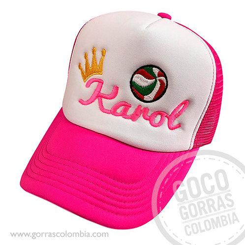 gorra fucsia frente blanco personalizada voleibol