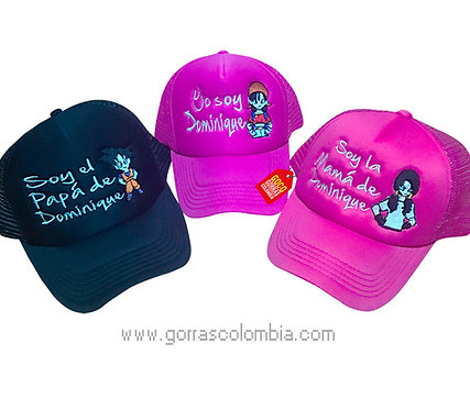 gorras negra y fucsia unicolor para familia de goku