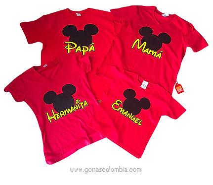 camisetas rojas para familia de mickey papa mama y hermanos