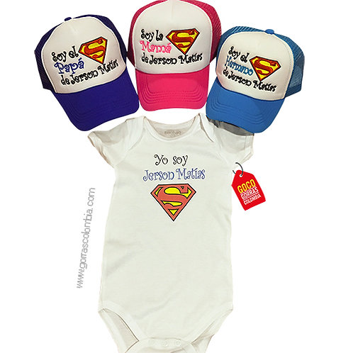 gorras varias frente blanco y body para familia superman