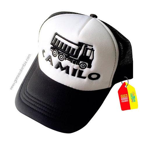 gorra negra frente blanco para niño camion