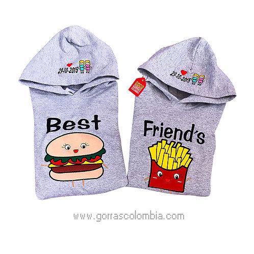 busos grises con capota para amigas best friends