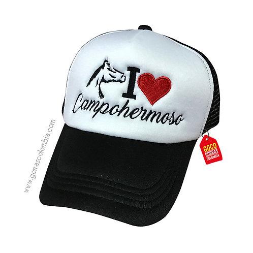 gorra negra frente blanco personalizada campohermoso