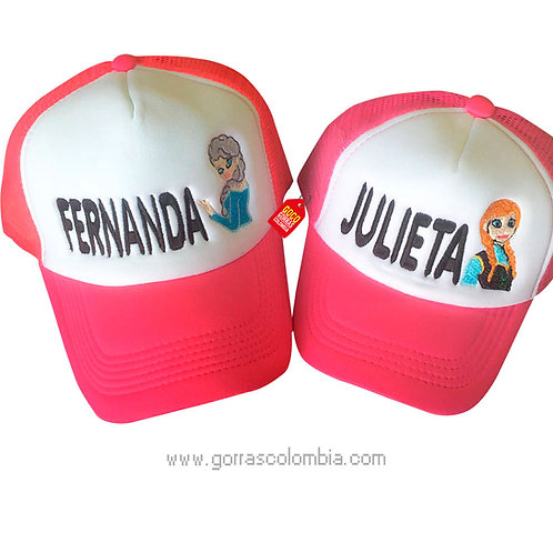 gorras fucsia frente blanco para familia mamá e hija