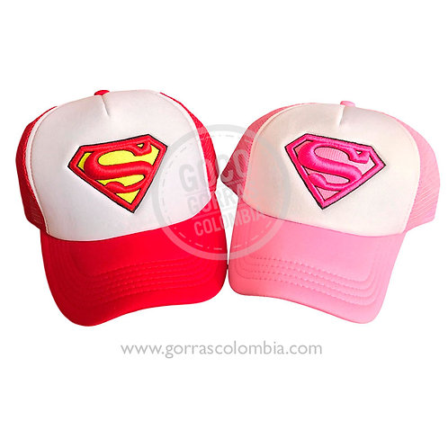 gorras roja y rosada frente blanco para pareja superman
