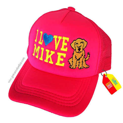 gorra fucsia unicolor para niña i love mascota