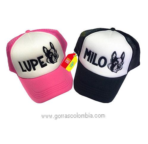 gorras negra y fucsia frente blanco para pareja mascota