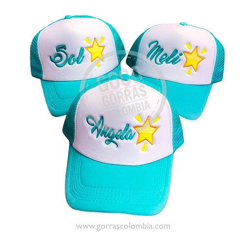 gorras azules frente blanco para amigas emoji estrella