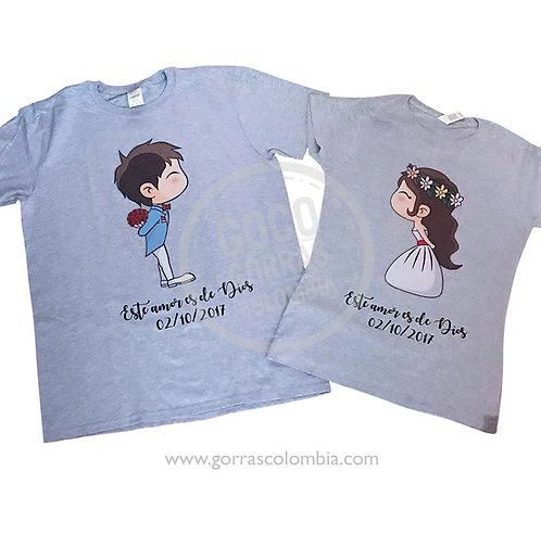 camisetas grises para pareja novios