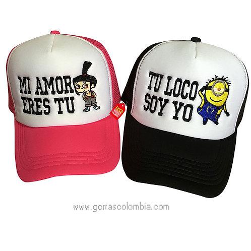 gorras negra y fucsia frente blanco para pareja mi amor eres tu villano favorito