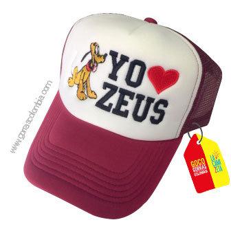 gorra vinotinto frente blanco para niño pluto mascota