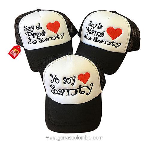 gorras negras frente blanco para familia corazon