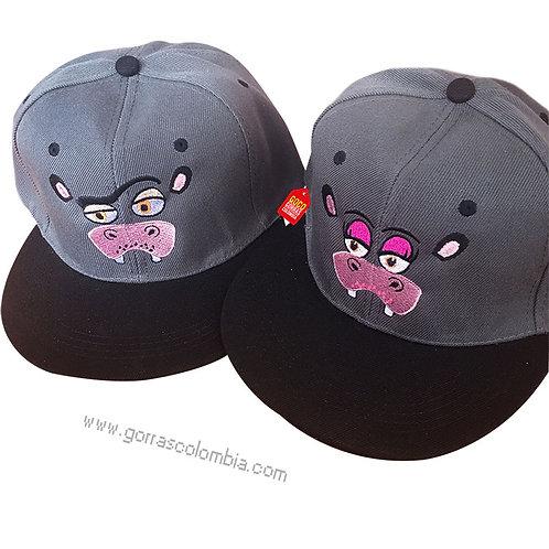 gorras negras frente gris para pareja hipopotamos