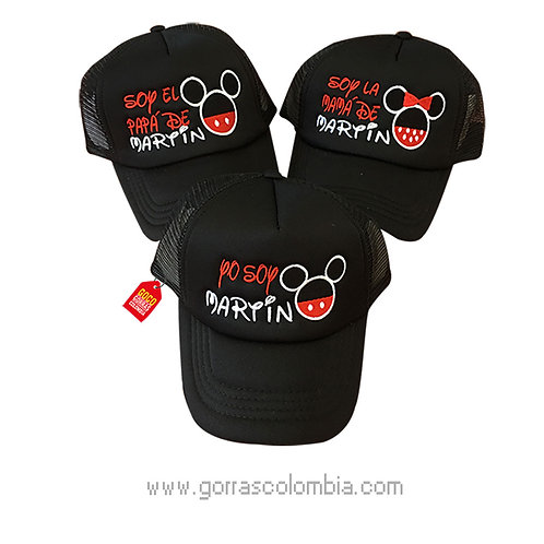 gorras negras unicolor para familia mickey