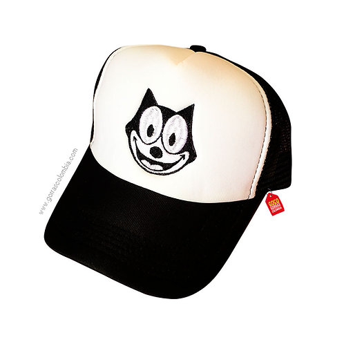 gorra negra frente blanco personalizada gato felix