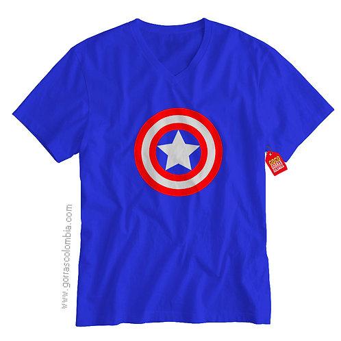 camiseta azul de superheroes capitan america