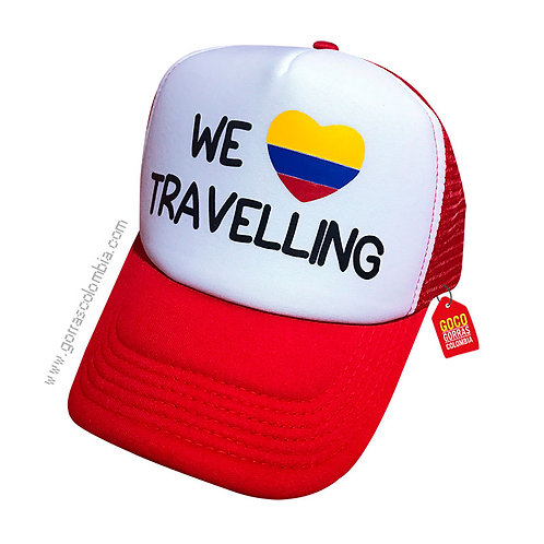 gorra roja frente blanco personalizada we travelling