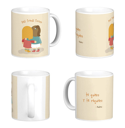 mug blanco personalizado best friends forever