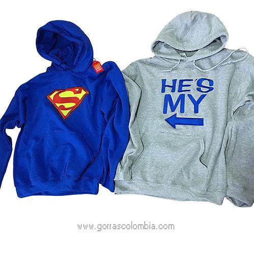 busos azul y gris con capota para pareja superman