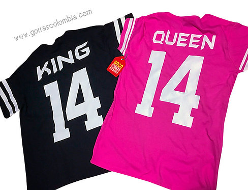 camisetas negra y fucsia para pareja king y queen