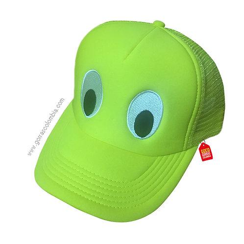gorra verde neon unicolor para niño ojos