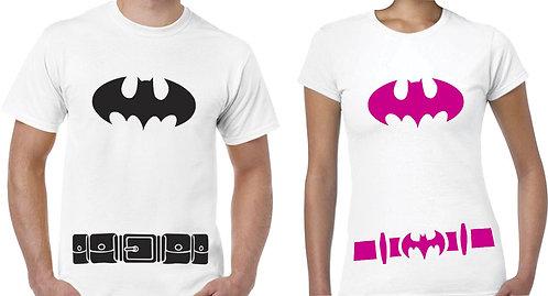 camisetas blancas para pareja de batman con cinturon