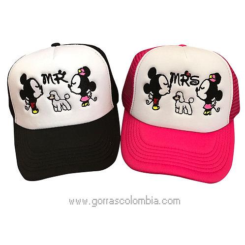 gorras negra y fucsia frente blanco para pareja mr y mrs mickey