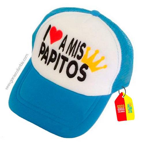 gorra azul frente blanco para niña i love a mis papitos