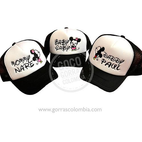 gorras negras con blanco para familia mickey daddy mommy baby