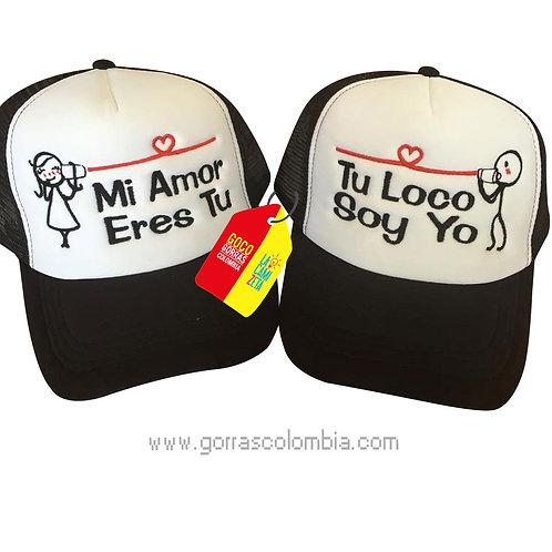 gorras negras frente blanco para pareja mi amor eres tu