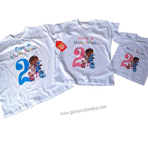 camisetas blancas para familia de doctora juguetes cumpleaños