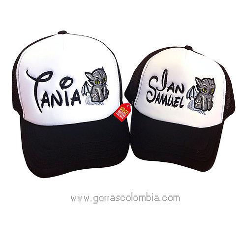 gorras negras frente blanco para familia gato murcielago