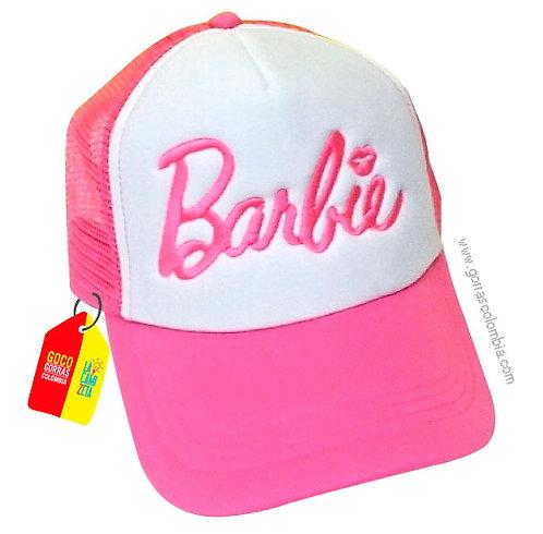 gorra fucsia frente blanco para niña barbie