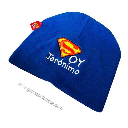 gorro azul para bebe soy superman con nombre