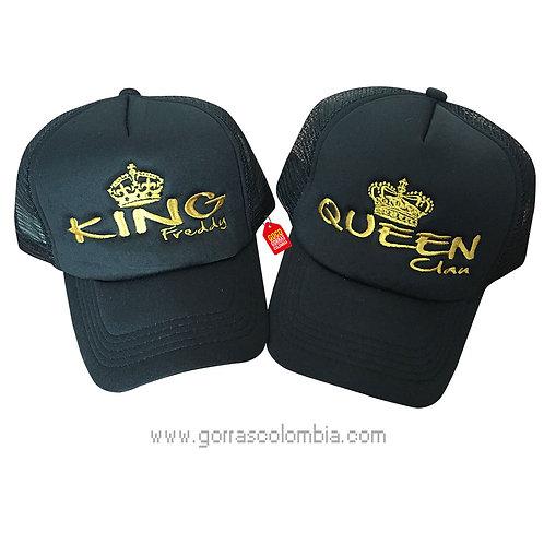 gorras negras unicolor para pareja king y queen nombres